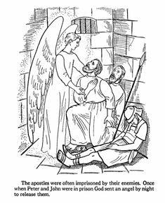 An angel releases Peter and John from prison by putting the guards to sleep. Bible coloring page