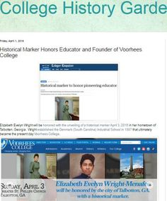 Marker unveiling to honor Elizabeth Evelyn Wright, founder of Voorhees College