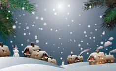 Festive Wintertime Village Vector Background - http://www.welovesolo.com/festive-wintertime-village-vector-background/