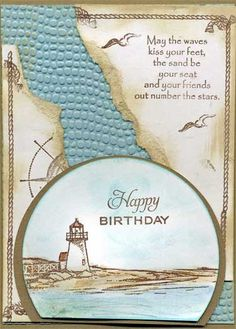 birthday card with stamped images that are colored with water color pencils Masculine Birthday Cards, Masculine Cards, Birthday Verses For Cards, Nautical Cards, Beach Cards, Boy Cards, Fathers Day Cards, Card Making Inspiration, Card Tags