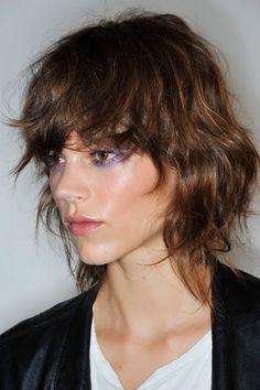 Freja Beha purple glossy make up for Versace