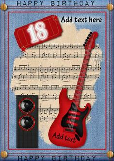 That Red Guitar on Craftsuprint designed by Marie Wolman - This is a great card to send to any young male who is turning 18.This card features a red guitar set on a musical background with denim borders. - Now available for download!