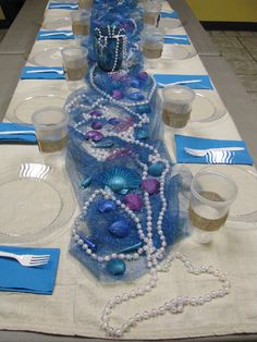 Mermaid party table - Lilys Mermaid Soiree | Catch My Party