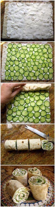 Picknick Snack und Fingerfood - einfach Gurken und Käse in ein flaches Brot rollen *** Picnic Snack and Finger Party Food with Lavash Bread, Cucumber and Cream Cheese