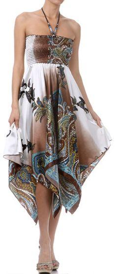 Paisley Design Satin Feel Beaded Halter Smocked Bodice Handkerchief Hem Dress