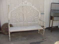 Bench made from headboard   Bench Made With Vintage Iron Headboard