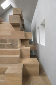 Studio Farris Architects has integrated an office into a staircase made from stacked timber beams, and installed it inside a renovated barn in West Flanders, Belgium Office Interior Design, Office Interiors, Interior And Exterior, Interior Decorating, Design Interiors, Exterior Design, Stairs Architecture, Architecture Details, Interior Architecture
