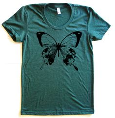Butterfly Graphic Print Tee TriBlend Short by StarHeartPinkShop, $18.00