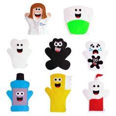 Fantoches Higiene Bucal - Dentista    ITENS: 8 FANTOCHES: Dente saudável, dente cariado, bactéria, pasta, escova, fio dental, flúor e dentista. Valor referente ao kit com as 8 personagens.    DIMENSÕES: 25 x 30 cm, em média, cada.  MODELO: Fantoche de mão. Movimenta os braços, não movimenta a boc...