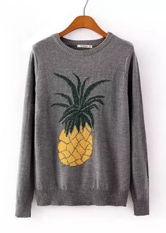 Pineapple Jacquard Patterns O-neck Long Sleeve Knit Sweater