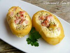 Pommes de terre au four au fromage et dès de jambon cru. Recette en italien. - PATATE AL FORNO RIPIENE CON FORMAGGIO CREMOSO