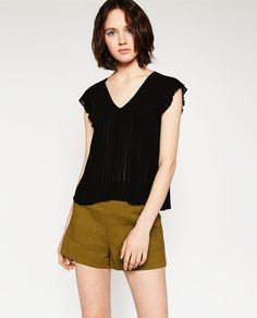Image 2 of V-NECK PLEATED TOP from Zara