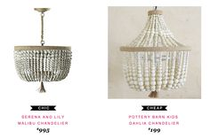 Serena & Lily Malibu Chandelier $995 | vs | Pottery Barn Kids Dahlia Chandelier $199 #copycatchicfind