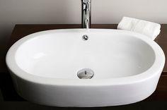 Drop-In Oval Ceramic Vessel Sink in White