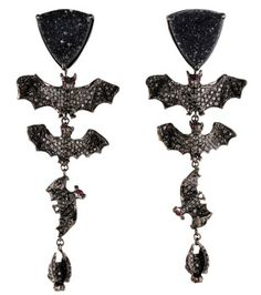 """lydia courteille collection   Lydia Courteille """"Bat"""" earrings in black diamonds, drouzy agate ..."""