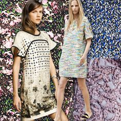 The Resort 14 collections are full of  small scale prints that become abstract and textural. Givenchy's latest collection is especially interesting, with abstracted flowers and dots. Rochas's collection features small scale African inspired prints.