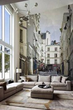 Living room in the middle of a French street!  Love it!  Wish I had a blank wall to pull it off with!