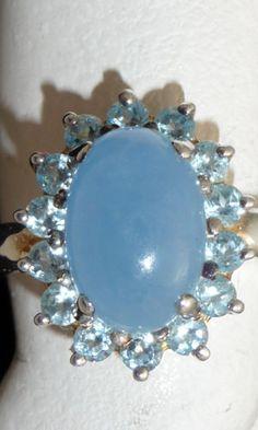 Sterling silver Size 8 milky blue aquamarine ring with diamond cut aquamarine gemstones
