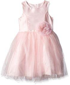 Pippa & Julie Little Girls' Shantung Dress with Rose At Waist, Pink, 2T. Full skirt. Sleeveless.