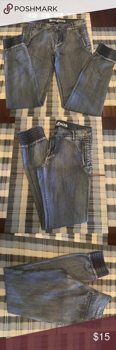 Blue Faith Jeans These are a Nice light weight pair of jeans. By Blue Faith. Size 11/12. 70% Cotton 30% Polyester. In excellent condition! Blue Faith Jeans Ankle & Cropped
