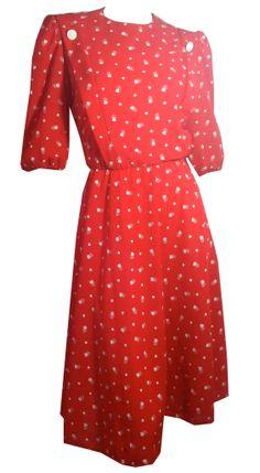 Sweetheart Novelty Heart Print Blouson Bodice 1980s Dress
