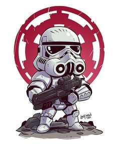 "7,750 curtidas, 26 comentários - Derek Laufman (@dereklaufman) no Instagram: ""NEW Chibi Storm Trooper! Prints available at www.dereklaufman.com (link in my profile) Take…"""