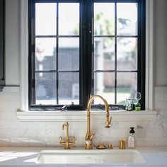 Antique Brass Faucet, Contemporary, kitchen, Abby Wolf Weiss Interiors