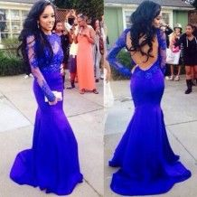 Sexy Prom Dress -Royal Blue Mermaid Scoop Long Sleeves with Appliques