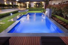 Good shape - minus the water feature. The Majestic Range a great Fibreglass swimming Pool. This is the benchmark for a rectangle pool shape and comes in a range of sizes. From Barrier Reef Pools Perth