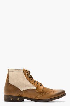 DIESEL Brown Leather-paneled KRYPTOR Brogue boots