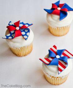 4th of July patriotic pinwheel cupcakes