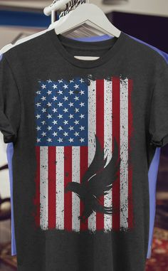 Unique Top 20 4th of july Shirts on party and ceremony for Men / Women / Kids - Eagle on USA Flag 1 T-Shirt. Complete your collection of accessories for him/her: decor, diy, art, makeup, crafts, quotes, glasses, bracelet on holiday. Surprise for election, proud team, kinder, youth, boy, fathers, mom, wife, dad. Funny 4th Of July, Fourth Of July Shirts, July 4th, Personalized T Shirts, Usa Flag, Makeup Art, Diy Makeup, Makeup Crafts, Custom T
