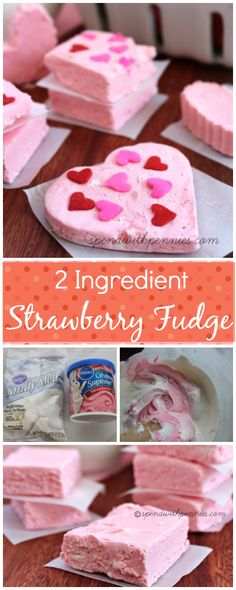 2 Ingredient Strawberry Fudge!  Easy to make and so pretty!  ♥