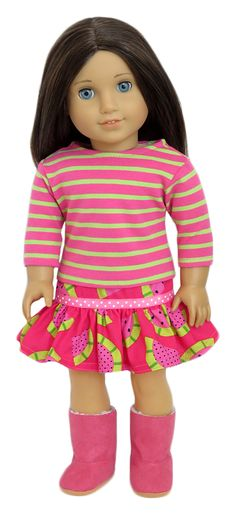 Silly Monkey - Watermelon Mix-Up Skirt and Top, $19.99 (http://www.silly-monkey.com/products/watermelon-mix-american-girl-outfit.html)