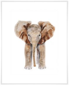 Baby Elephant Portrait from Oopsy Daisy, Fine Art For Kids. Available as Art Print or Canvas Wall Art. Prices Starting at $19. Shop now!