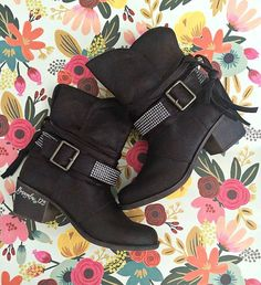 """Great Fall Bootie in Deep Brown. Vegan leather with a 2.5"""" heel and crystal and fringe accent. 2.5"""" heel. These booties are a very Deep Brown and could pass for Black as well. Run true to size."""