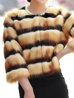 Brown Fashion Fox Fur Coat Jacket Stripe Vintage Women Warm Winter