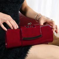 Fashion Ladies Solid Wallet Women PU Leather Purse Clutch Wedding Party Prom Handbag Shoulder Bag Black Blue Red