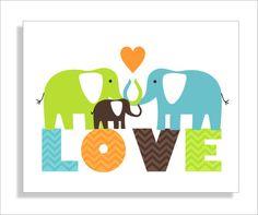 Elephant love, children's wall art, elephant nursery, kids wall art, nursery decor -8x10