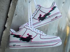 Nike Air Force 1 lobby by gueule_dangeee. Custom Painted Shoes, Custom Shoes, Custom Af1, Hand Painted Shoes, Sneakers Fashion, Shoes Sneakers, Usa Shoes, Jeans Shoes, Yeezy Shoes