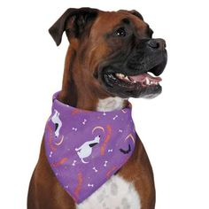 Aria Happy Howl-O-Ween Dog Bandana - Purple. Lots of colors, lots of details, lots of opportunities for Halloween fun with the Aria Happy Howl-O-Ween Dog Bandana!This colorful bandana adds a perky accent to dogs Halloween outfits!Coordinates with other Halloween apparelMade of poly cotton blendMachine washableWhy We Love It:The lively pattern on this Aria Happy Howl-O-Ween Bandana has quite the seasonal mix! Surrounded by holiday icons, a happy hound howls his Halloween greeting to the...