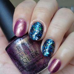 Golden Purple with Blue Glitter Layering Nail Art