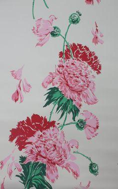 Vintage Wallpaper Giant Pink Peonies