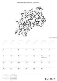 Calendario 2015 para colorear-niños de Manualidadesconmishijas Febrero - frebruary calendar