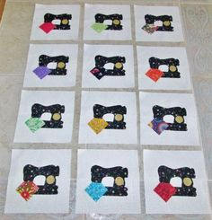 "Set of 12  Vintage Sewing Machine Applique 6"" x 6""  Quilt  Blocks #Unbranded"