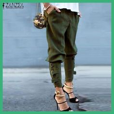 ZANZEA Women Fashion Harem Pants 2017 Summer Autumn Casual Loose Elastic Waist Long Pants Leisure Solid Brand Trousers Plus Size