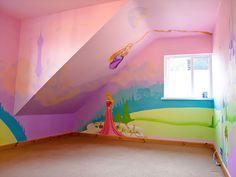 Whole bedroom Disney Princesses mural Princess Mural, Disney Princess Bedroom, Princess Bedrooms, Disney Bedrooms, Baby Princess, Girl Bedroom Walls, Bedroom Murals, Bedroom Ideas, Girl Room
