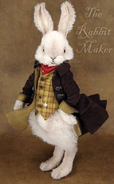 Shelly Allison 'The Rabbit Maker'. Creating collectable Soft sculpture and Art dolls rabbits. Ours Boyds, Lapin Art, Rabbit Art, The Rabbit, Alice Rabbit, White Rabbits, Bunny Art, Vintage Easter, Peter Rabbit