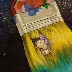 Detail   #illust #kidlit #watercolor #brush #sleeping #painting #stars #sky #night #dream #fizzle #silence #pinsel #baby #schlafen #nacht #sterne #traum #leise #붓 #일러스트 #수채 #하늘 #그림 #밤 #별 #잠자는 #아이 #쉿 #꿈