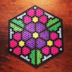 Floral design perler beads by cparri